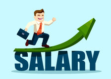 Successful businessman running on salary arrow graph going up Royalty Free Stock Image