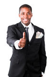 Successful businessman showing thumb up Stock Images