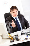 Successful businessman showing thumbs up gesture Royalty Free Stock Photos