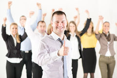 Successful businessman showing Thumbs Up Stock Images
