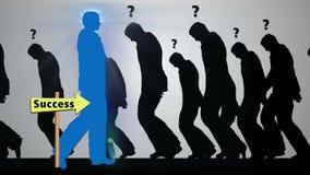 Successful Businessman silhouette with glowing brain walking across screen toward success stock video