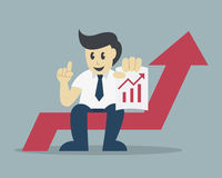 Successful businessman sit on arrow with a growing chart Stock Photo