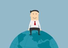 Successful businessman sitting on the earth globe. Global market, international business and successful people theme. Cartoon successful joyful businessman Stock Photos