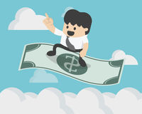 Successful Businessman sitting on the flying dollar magic. Carpet to on sky eps.10 Stock Photos