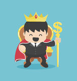 A successful businessman is sitting on throne crown on his head Stock Images