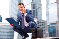 Successful businessman smiling Royalty Free Stock Photo