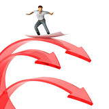 Successful businessman surfing on graph. 3d Stock Photos