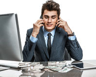Successful businessman talking by mobile phone Stock Photography