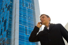 Successful businessman talking on mobile phone Royalty Free Stock Images