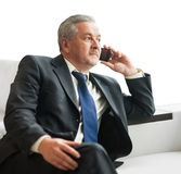 Successful businessman talking on smartphone Stock Photos