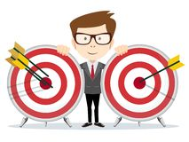 Successful businessman or teacher holding a target Royalty Free Stock Images