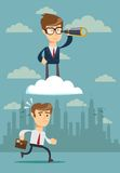 Successful businessman with telescope on cloud Stock Images