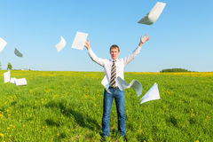 Successful businessman threw papers Royalty Free Stock Image