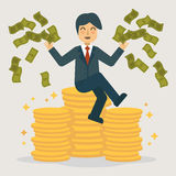 Successful businessman throwing money. Stock Images
