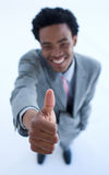 Successful businessman with thumb up Royalty Free Stock Image