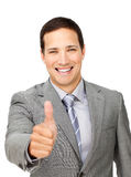 Successful businessman with thumb up Royalty Free Stock Photos