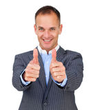 Successful businessman with thumbs up Royalty Free Stock Photos