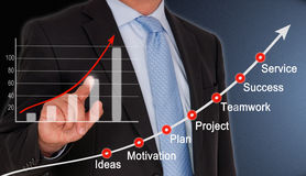 Successful businessman. Touching upward trend graph with business concept words on screen Royalty Free Stock Photo