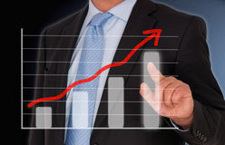 Successful businessman with touchscreen Stock Photos