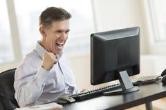 Successful Businessman Using Desktop Pc Stock Image