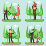 Successful Businessman Watering Growth Infographic Set Flat Design Vector illustration Stock Image