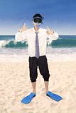 Successful businessman wearing snorkeling tools 1 Royalty Free Stock Photos