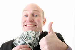 Successful businessman winner dollars Stock Image