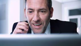 Successful Businessman wins again stock video footage