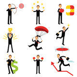 Successful businessman at work metaphor set of  Illustrations Royalty Free Stock Photography