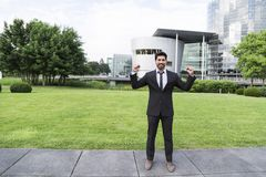 Successful businessman or worker in suit Royalty Free Stock Image