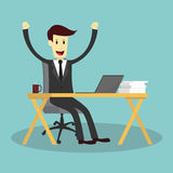 Successful businessman on working desk and feeling happy Stock Images