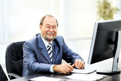 Successful businessman working with documents Stock Photo