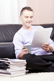 Successful businessman working at home. royalty free stock image