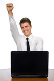 Successful businessman working on laptop. Stock Photography