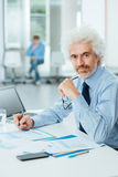 Successful businessman working at office desk Royalty Free Stock Images