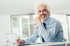 Successful businessman working at office desk Stock Image