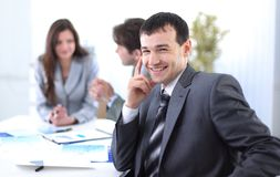 Successful businessman in the workplace Royalty Free Stock Photography