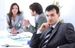 Successful businessman in the workplace Stock Images