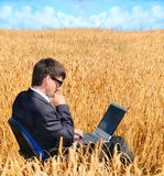 Successful businessman works in field. On laptop Stock Image