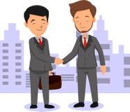 Successful businessmen handshaking after good deal stock illustration