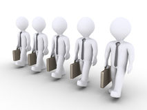 Successful businessmen are walking together. 3d businessmen are in a row and are walking together Stock Image