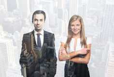 Successful businesspeople double exposure. Two happy successful businesspeople on city background. Double exposure stock image