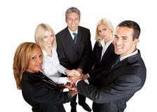 Successful businesspeople stacking their hands Stock Photography