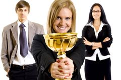 Successful businesspeople winning stock image