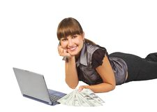 Successful businesswoman. Beautiful businesswoman with dollars and  laptop Stock Photography