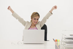 Successful businesswoman. Working with computer Stock Photo