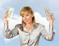 Successful businesswoman against the sky Stock Photography