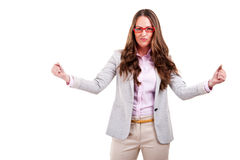 Successful businesswoman with arms up Stock Photos