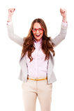 Successful businesswoman with arms up Royalty Free Stock Photography