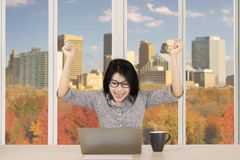 Successful businesswoman in autumn background Stock Images